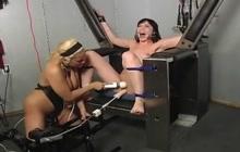 Bound lesbian machine fucked
