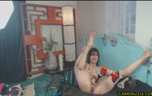 Busty webcam slut rides baseball bat