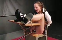 Pigtailed brunette girl tied and spanked
