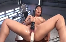 Busty Asian slut fucked by a machine