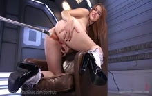 Nerdy redhead Amarna Miller solo with fucking machine