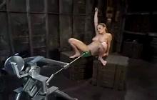 Machine banging leads to a hard orgasm