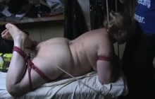 BBW fucked with a machine while sucking cock