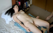 Girl with small tits having sex with a machine