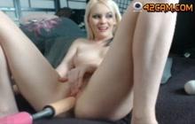 Blonde babe masturbating on webcam