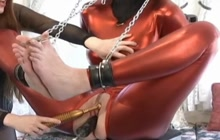 Hard BDSM session with brunette whore